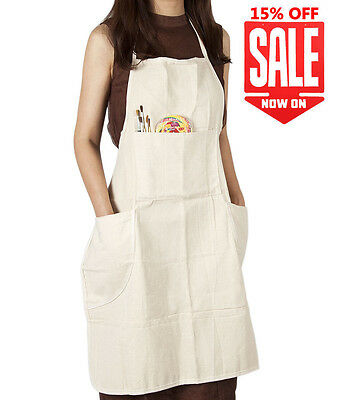 Artist Adult Conda Cotton Large Canvas Gift In-Adjustable Bib Apron w/ 4 Pocket