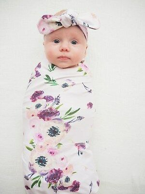 Baby Swaddle Wrap Blanket With Matching Topknot Headband