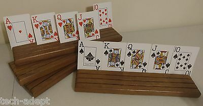 VINTAGE - Set of 4 Wooden Playing Card Holders - 4-Row - High Quality Solid Wood