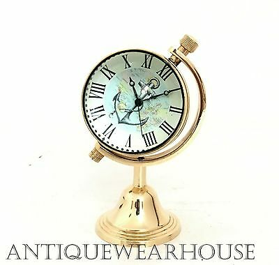 Nautical Brass Working Desk Clock Maritime Collectible Beautiful Gift Decorative