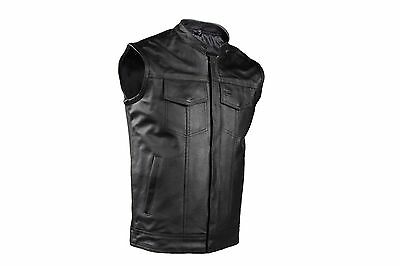 Mens SOA Zip Up Leather Motorcycle Biker Club Vest Concealed Carry Outlaws
