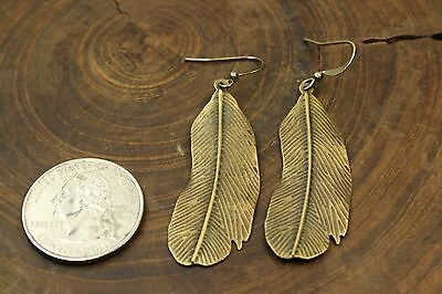Feather earrings, antique silver or brass or copper color, handmade