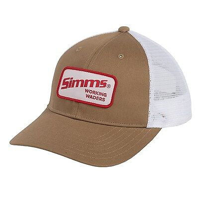 97b87e5e701 Simms Fishing Working Waders Trucker Patch Hat Cap Coffee   White Color ...