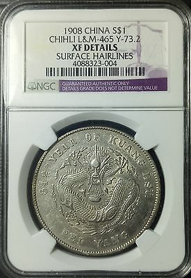 China 1908 Chihli Silver Dollar Y#73.2 Ngc Xf Details