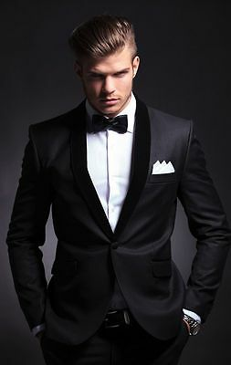 Fashion Black Mens Suits Groom Wedding Tuxedo Slim Groomsman Prom Party Suits