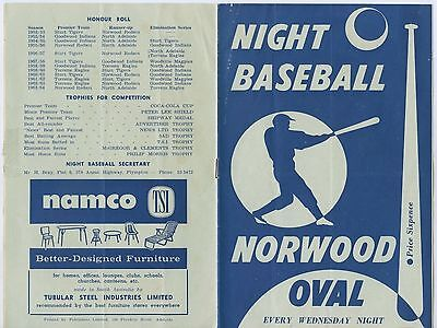 December 1964 Night Baseball Norwood Oval Adelaide S.a. Programme 7 Pages  C41