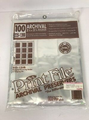 Print File 225-12HB Slide Preservers for 2-1/4 120  slide Pack of 100 pages