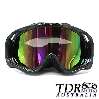 BLACK motocross goggles anti-fog UV protection MX dirt trail ATV bike Tinted