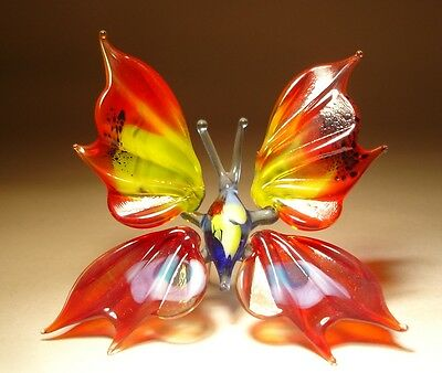 "Blown Glass Figurine ""Murano"" Art Small Red, Yellow & White BUTTERFLY"