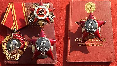 Kgb !!! Lenin Order + Patriotic War + Red Star All Perfect Ussr Ww2 Nkvd Awards