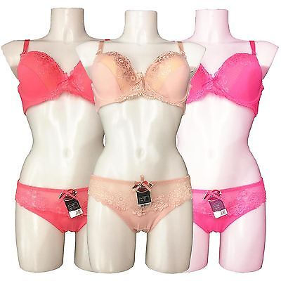 New Womens Floral Lace Push Up Padded Bra Knicker Lingerie Set Cup D UK 30D-38D