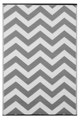 Green Decore Psychedelia Grey and White Indoor/Outdoor Rug - 120 x 180cm