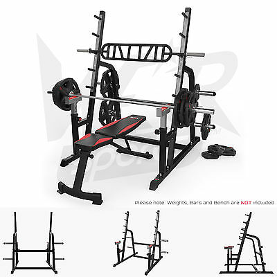 Olympic Squat Rack Adjustable Power Bench Press Barbell Stand Weight Lifting