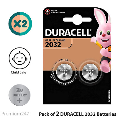 2 X Duracell CR2032 3V Lithium Button Battery Coin Cell DL/CR 2032 Expiry 2026