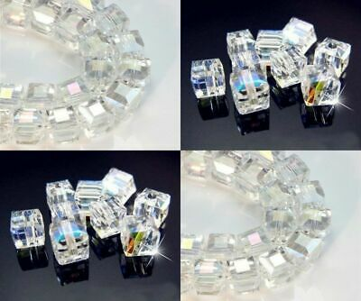 Wholesale Multicolor White AB Square Cube Cut Glass Crystal Spacer Beads Hot F
