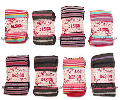 Girls Mixed Striped Cotton Rich Knitted Tights by I.L.C.K