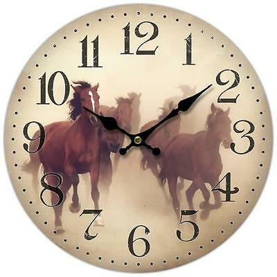 Clock Outback Country Vintage Inspired Wall Clocks 34CM CREAM HORSES New Time