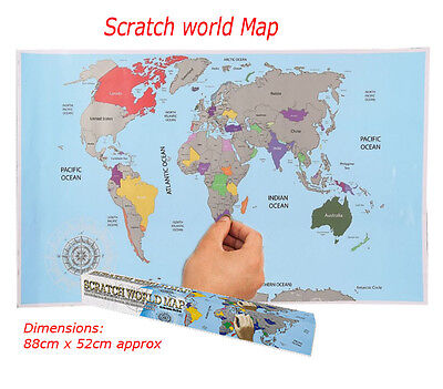 Scratch Off World Map Poster Personalised Vacation Find Places Travel Gift