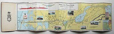c.1927 SUEZ CANAL FOLD OUT MAP NOTES & STATISTICS