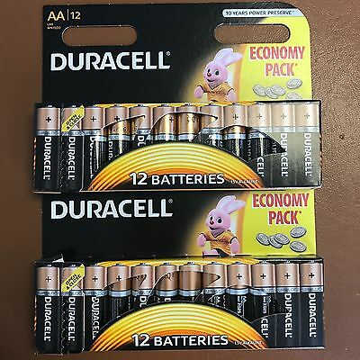 24 x Duracell AA Long Lasting Power Alkaline Batteries Economy Pack LR6 MN1500