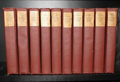 THE WORKS OF EDGAR ALLEN POE (Complete 10 Volume Set, Library Edition, c.1908)