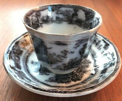 Antique Adams & Sons Jeddo Ironstone Handleless Teacup And Saucer