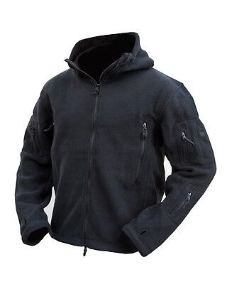 Men's Kombat UK Tactical Fleece Hoodie Full Zip Black Recon Military