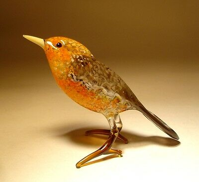 "Blown Glass ""Murano"" Art animal Figurine Brown and Orange Bird"