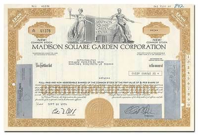 Madison Square Garden Corporation Stock Certificate