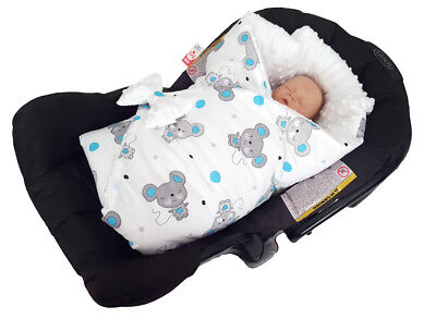 BlueberryShop Minky Reversible for CAR SEAT Swaddle Wrap Blanket Sleeping Bag