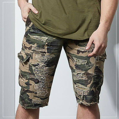 8c09dad741fa1d Men s JORDAN CRAIG woodland green camo distress twill cargo Shorts style  4384C