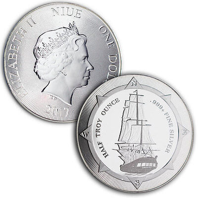2017 New Zealand HMS Bounty 1/2 oz .999 Silver Round Very Limited Bullion Coin