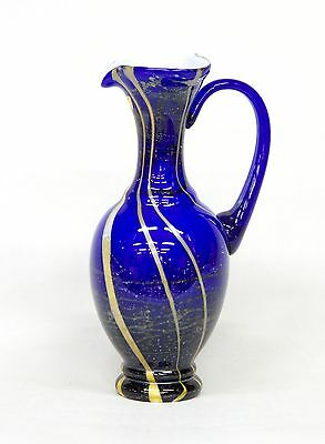 Sapphire hand blown glass – decorative vase jug with 1 handle in Greek style 12.