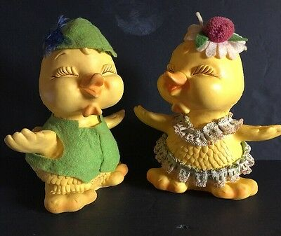 Vintage Easter Decorations ~ Hard Plastic Baby Duck Banks (Boy & Girl) 1970's