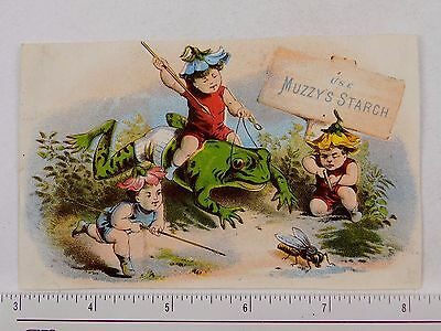 1870s-1880s Scrap Muzzy's Corn Starch Fairies Riding Big Frog Hunting Fly F57