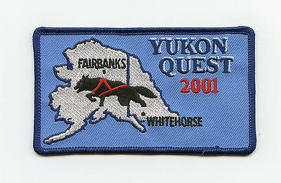 HTF 2001 Yukon Alaska Quest Dog Sled Race Patch Whitehorse, YT to Fairbanks, YT