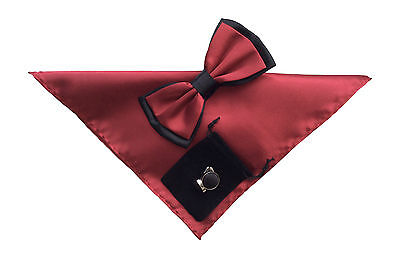 Mens Formal Wedding Evening Bow Tie, Hanky and Cufflinks set Burgundy wine No20
