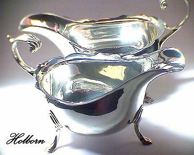 Matching Pair of Antique Sterling Silver Sauce Boats by James Woods & Sons 1914.
