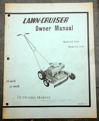 1950's Lawn-Cruiser LC 5150 Canada Lawn Mower Owner's Manual Johnson Evinrude