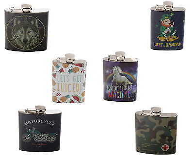 Hip Drink Flask Choice of design 4oz 6oz party stag hen unicorn Stainless Steel