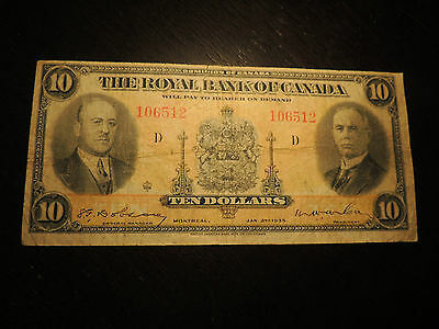 1935 Royal Bank Of Canada $ 10 Ten Dollars 106512 Small Signatures Variety