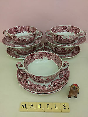 WOODS WARE ~ENGLISH SCENERY~ soup coupes & saucers x 5