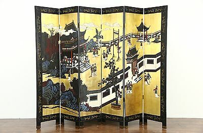 Chinese Coromandel Hand Painted Lacquer Vintage 6 Panel Screen, Gold Leaf