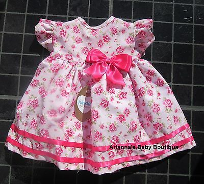 NEW Baby Girls Kinder Boutique FRILL SLEEVE WILD ROSES PINK BOW DRESS 0-18 MONTH