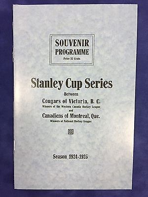 1924-25 Stanley Cup Program Reprint - Victoria Cougars Vs. Montreal Canadiens