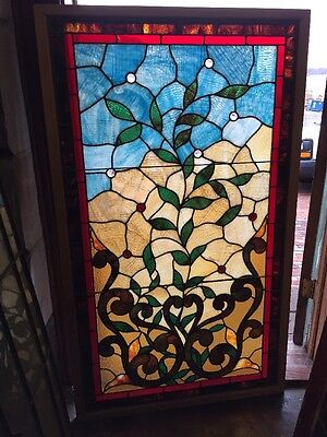 Rk 9 Antique Floral Leaves Jeweled Landing Window 32.25 X 52.5