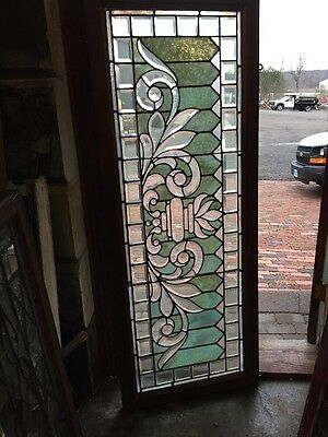 RK 12 Antique Beveled Combo Stained Glass Transom Window 24.5 X 63.5