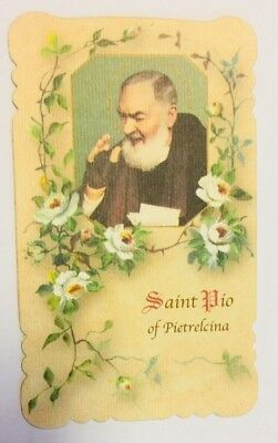 Padre Pio Scalloped Prayer Card, from San Giovanni Italy, New