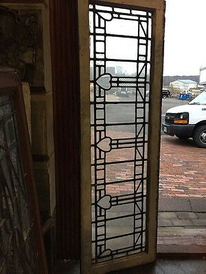 Rk 15 Antique Textured Glass Transom Window Triple Heart 18 X 56.25