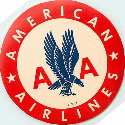 AMERICAN AIRLINES - Classic and ORIGINAL Old Luggage Label, circa 1955
